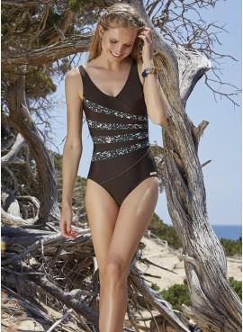 Costume donna intero Ysabel Mora strisce trasversali con fantasia maculata 80785